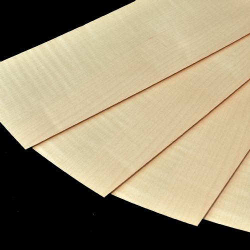 "Figured Sycamore real veneer. 4 sheets 11.5"" x 4.5"" ( 29 x 11 cm )"
